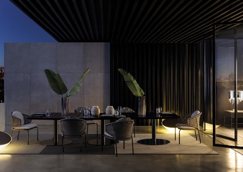 DINING TABLE BELLAGIO, CHAIRS ASTON CORD - DESIGNER RODOLFO DORDONI